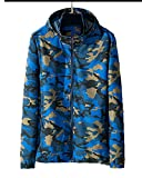 Runyue Chaqueta Deportiva para Hombre Jacket Camuflaje Abrigo Impermeable Rompevientos Windbreaker Azul 2XL
