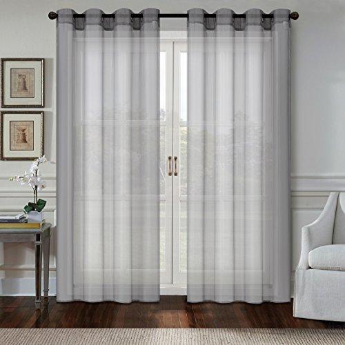 OBdeco Gardine Vorhang Elegante gardinen Transparent Voile Gardinenschals vorhänge Fenster mit Ösen 2 Stück (Grau, Stoff:140cmx245cm)
