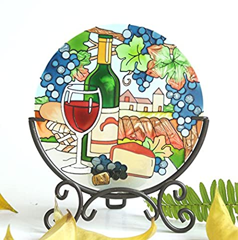Hand Painted Art Glass Tea Light Candle Holder Table Topper Candleware Holiday Decor (Grape Wine)