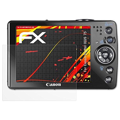 atFoliX Schutzfolie kompatibel mit Canon Digital IXUS 75 Displayschutzfolie, HD-Entspiegelung FX Folie (3X) Canon Ixus 75 Digital Kamera