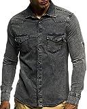 LEIF NELSON Herren Jeans Hemd Slim Fit BŸgelleicht Trend Langarm Freizeit Denim; Größe L, Anthrazit