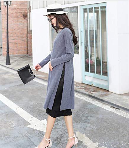 ELEGENCE-Z Schwangerschaftskleidung, Temperament Rundhals Stretch Thread Baumwolle Langarm Gefälschte Zwei Stück Stillen Kleid Gray S