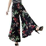 Aivtalk - Femmes Filles Pantalon de Palazzo Ceinture Élastique Style Rétro Bohême Floral Imprimé Pantalons Bouffant Loisir Jambe Large pour Été Automne - Couleur et Taille au Choix