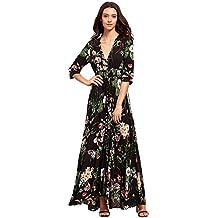 KUONUO vestidos de mujer Mujer Verano Cuello en V Boho Largo Maxi Vestido Fiesta Nocturna playa