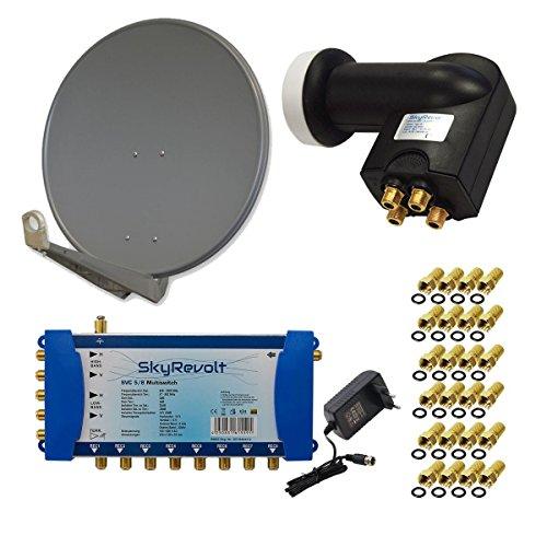 PremiumX DELUXE80 Antenne 80 cm ALU Anthrazit + SkyRevolt Multischalter SV 5/8 Multiswitch Sat Verteiler + SkyRevolt Quattro LNB HDTV + 24x F-Stecker Digital SAT Anlage