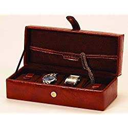 Mele and Co Brown PU Grain Leather Watch Box For 4 Watches