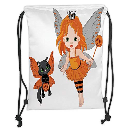 LULUZXOA Gym Bag Printed Drawstring Sack Backpacks Bags,Halloween,Halloween Baby Fairy and Her Cat in Costumes Butterflies Girls Kids Room Decor Decorative,ri (Make-up Halloween Cat-girl)
