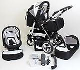 Clamaro 'VIP Volver' 3in1 Premium Kinderwagen Kombi mit 360° Schwenkrädern, Kombikinderwagen mit Babywanne, Buggy und Auto Babyschale, Felge: ALU (Hartgummi Reifen), Design: 19. Schwarz/Weiß