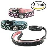Newtensina Stylish 3 Stück Hundehalsband und Leine Set Nylonriemen gewebt Bling Halsband Leder Diamante Welpen Halsband mit Weich Leine für Mittel Hunde