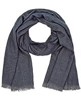 SIX großer, weicher Schal in Grau und dunklem Blau mit Fransen (384-484)