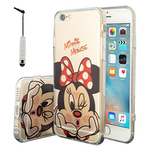 VCOMP® Transparente Silikon TPU Handy Schutzhülle mit Motiv Cartoon Disney für Apple iPhone 6/ 6s + Mini Eingabestift - Minnie ()