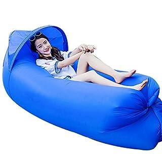 JINYJIA Portable Lazy Lounger Schlafsack, Outdoor Indoor Air Schlafsofa Luftmatratzen Couch Bett, Nylon Wasserdicht zusammenklappbar, Sitzsack für Lounging, Sommer Camping, Strand, Angeln (Blau)