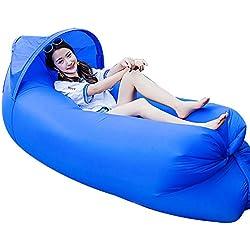 Haehne Portable Lazy Lounger Saco de Dormir, Interior al Aire Libre de Aire Sofá Sofá Cama de Sueño, Nylon Impermeable Plegable, Beanbag para Descansar, Camping de Verano, Playa, Pesca (Azul)