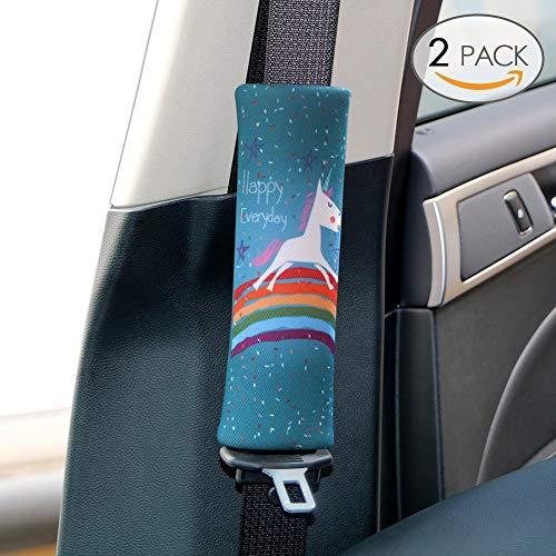 Sundell 2 Pcs Unicornio Coche Almohadillas - Auto Almohada para Cinturón de Seguridad Soporte de la Cabeza Proteja Hombro para Niños Bebés Adultos