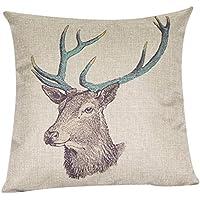 snowwer Decorbox Retro Cotton Linen cuadrado Vintage manta funda de almohada cubierta decorativa cojín almohada ciervos 18* 445mm