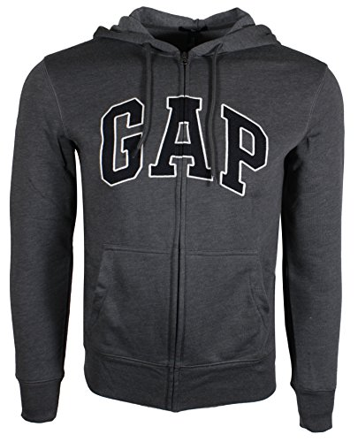 Gap Herren Fleece Arch Logo Full Zip Hoodie (X-Small, Grau (Navy Logo)) -