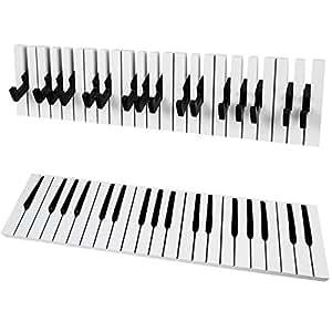 SoBuy® Appendiabiti a tasti di pianoforte, Appendiabiti moderno da muro,FRG13-W,IT