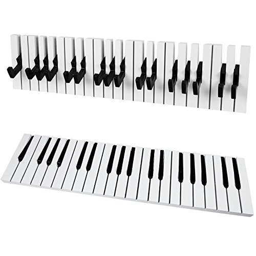 SoBuy® FRG13-W Piano Wandhaken,Garderobenleiste,Wandgarderobe,Kleiderhaken, (Schwarz-L60cm)