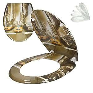 ECD-Germany Siège de Toilette New York Premium Duroplast Couvercle de Toilette avec Soft-Close & Revêtement antibactérien INCL. Matériel de Montage