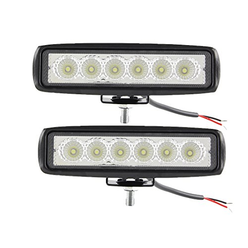 2 barras de luz LED de 18 W de 6 pulgadas para luces de trabajo de inundación, luces antiniebla, luz de barco, impermeable, para SUV ATV 4WD coche, camión, camión de golf 12 V 24 V