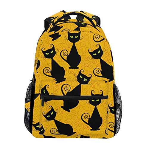 chwarzer Katze und gelbem Hintergrund für Mädchen Jungen Damen ideal für Reisen ()