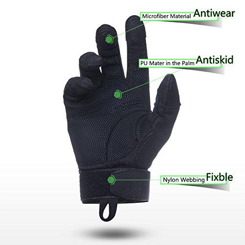 FREETOO Verstärkte Taktische Handschuhe mit PU-Leder + Nylon Design-Ideen für Fahrradfahren, Schießen, Fahren und andere Outdoor-Aktivitäten (Schwarz) - 4