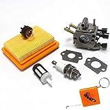 HURI Carburateur + Filtre à Air + Bougie d'Allumage Pour STIHL FS400, FS450, FS480, SP400, SP450 Débroussailleuse Remplacer Stihl 4128 120 0651, ZAMA C1Q-S34H, 4134 141 0300