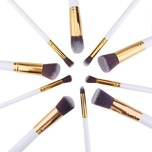 brosses cosmétiques pinceaux de maquillage doux premium pour base anticernes eye-liner blanc avec un tube d'or