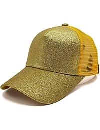 13433a535c9c3 2018 Gorra De BéIsbol ZARLLE Mujer Cola De Caballo Baseball Cap Messy  Lentejuelas Brillantes Snapback Hat