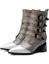 CXQ-Bottes QIN&X Women's Round Toe Talons Talon Bloc Long. Chaussures,Blanc,36