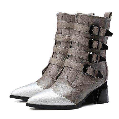 CXQ-Stivali QIN&X Donna Punta blocco tacchi alti medio stivali scarpe di piattaforma Grey