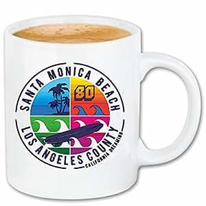 """tasse à café """"Santra MONICA BEACH LOS ANGELES califonia USA AMÉRIQUE ÉTATS-UNIS SURFING SURFER PARADISE SURF SURF ENSEIGNANT"""" Céramique 330 ml en blanc"""