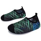 L-RUN Kinder schnell-trocken Barfuß Wasser Haut Schuhe Aqua Socken für Surf-Pool Yoga Strand Schwimmen Übung Streifen grün