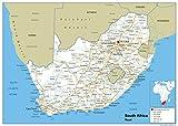 Sudáfrica mapa mural de carretera-Papel laminado [ga] A2 Size 42 x 59.4 cm