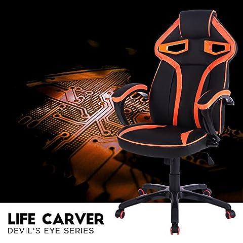 Life Carver Devil's Eye Series Fauteuil de bureau pivotant en cuir PU style racing pour gaming avec soutien lombaire