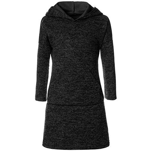 BEZLIT Mädchen Pullover Kleid Long Tunika Langarm Kapuze 21579 Schwarz Größe 140 (Kleine Mädchen-schwarz-sweater)