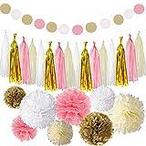 30 Stück Rosa und Gold Tissue Papier Pompoms Blumenball,Quaste Girlande für Geburtstag Hochzeit Party Dekorationen