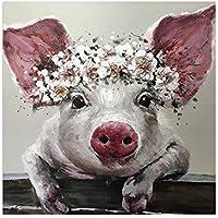 Schwein Kreidezeichnung Leinwandbild Wanddeko Kunstdruck