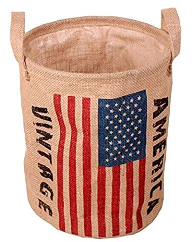 GreenForest Linen Round Laundry Storage Basket with the Stars and the (Bambini Bin Organizer)