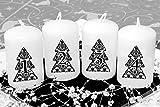 Adventskerzen Stumpenkerzen Motiv 'Tannenbaum schwarz' 80/50 mm weiß, 4 Stück