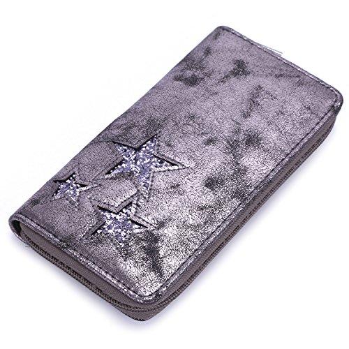 David Jones - Women\'s Fashion Purse Card Zipper Wallet - Glitter Stars Design Metallic Shiny Nubuck Faux Leather Suede Deer - Evening Clutch Bag Lady Girl Trendy Elegant Chic Style - Grey