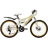 "Children's Mountain Bike 24"" Bliss White-Yellow 18 Gears KS Cycling"