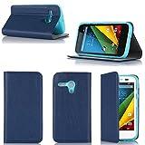 Motorola Moto G 4G/LTE Tasche Leder Hülle blau Cover mit