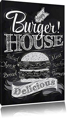 Burger House, Format: 60x40 auf Leinwand, XXL riesige Bilder fertig gerahmt mit Keilrahmen, Kunstdruck auf Wandbild mit Rahmen, günstiger als Gemälde oder Ölbild, kein Poster oder Plakat