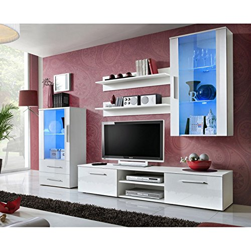 Paris Prix - Ensemble Meuble TV Design galino VIII 250cm Blanc Brillant