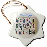 3dRose orn_62526_1 Mah Jongg Tile Design 2013 Snowflake Decorative Hanging Ornament, Porcelain, 3-Inch
