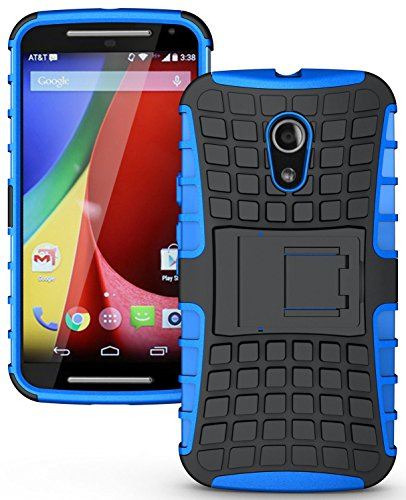 Heartly Flip Kick Stand Spider Hard Dual Armor Hybrid Bumper Back Case Cover For Motorola Moto G2 G 2nd Generation - Power Blue