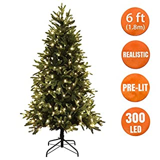 Realistic Christmas Tree Artificial 6 Ft 300 Warm White LED Pre Lit, Hinged, Metal Stand 100% Virgin Fire Retardant PE/PVC Mixed Tips