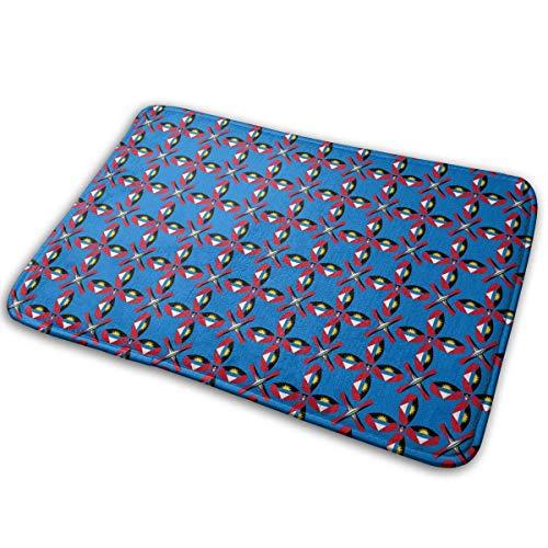 Zhengzho Rutschfeste Fußmatten Doormat Antigua und Barbuda Textur Flagge Waschbare innen und außen Langlebige Teppiche 40x60cm