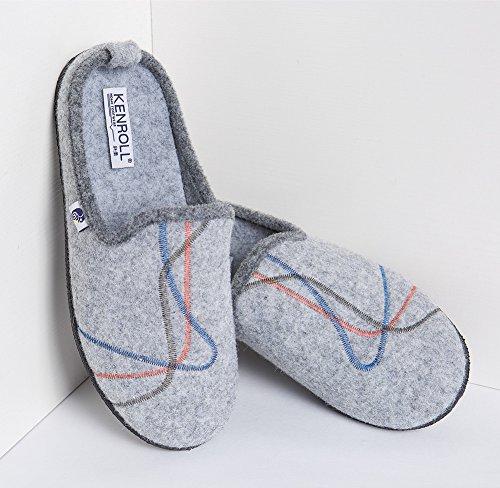 Kenroll Filzclogs mit Fußbett Filzpantoffel Herren Hausschuh Light Grey